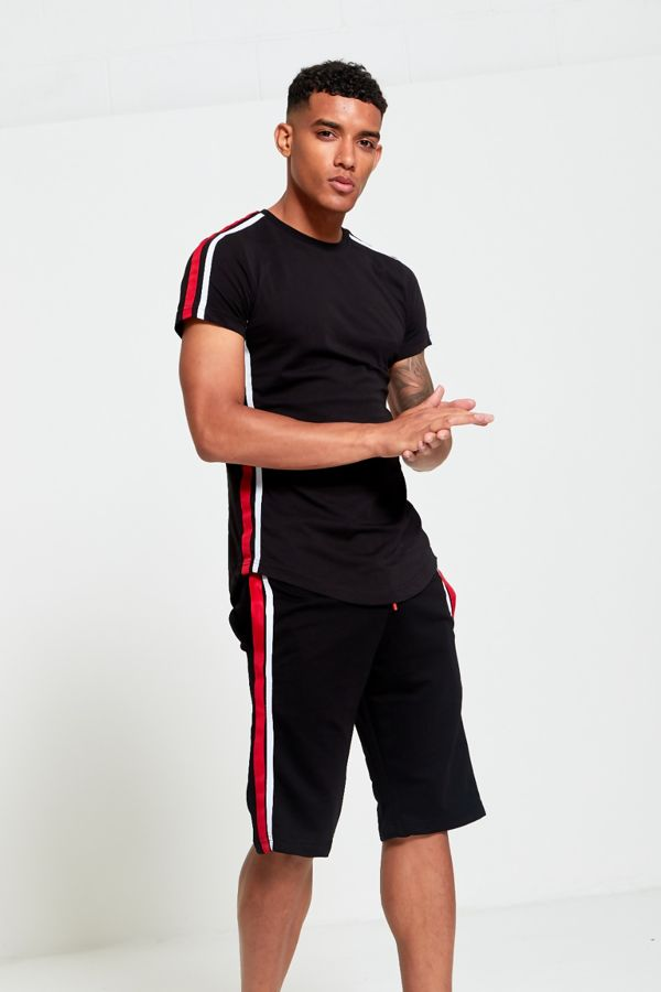 Black Crew Contrast Tape Short Tracksuit