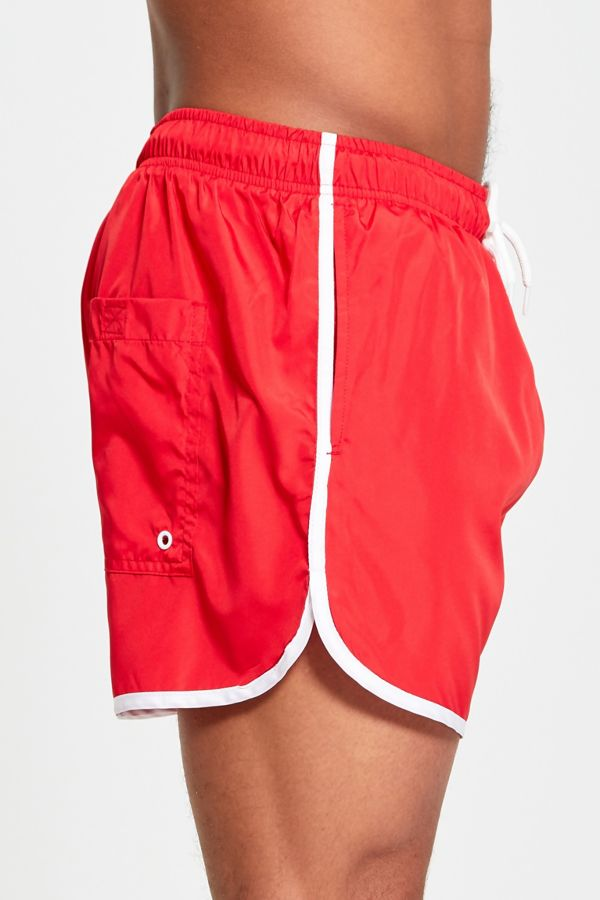 Red and White Stripe Swim Shorts