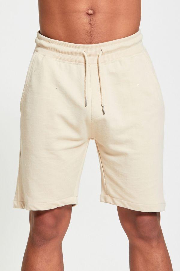 Beige Plain Basic Sweat Shorts