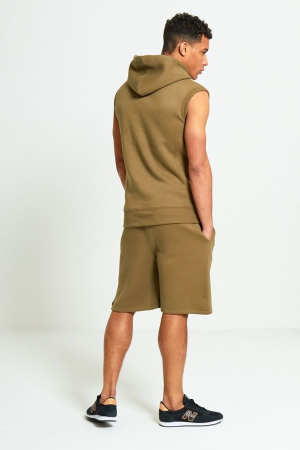 Khaki Sleeveless Hood Short Set