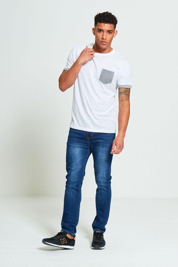 White Crew Neck Pattern Print T-Shirt