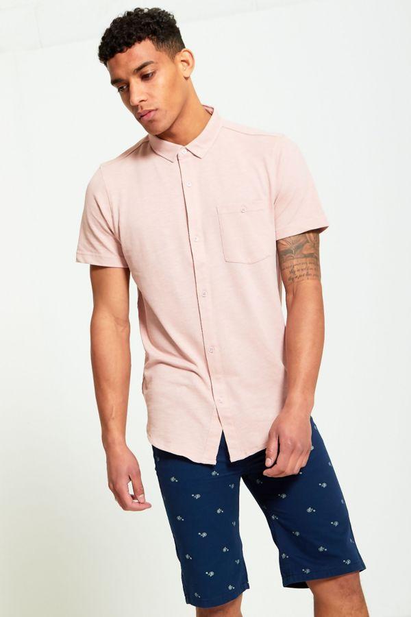 Pink Short Sleeve Round Hem Cotton Shirt