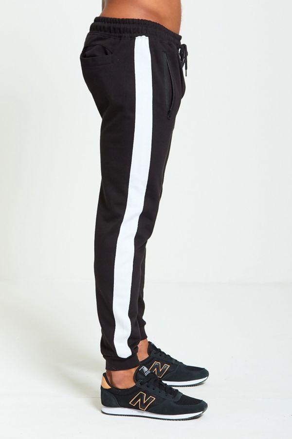 White Tape Black Skinny Fit Jogging Bottom