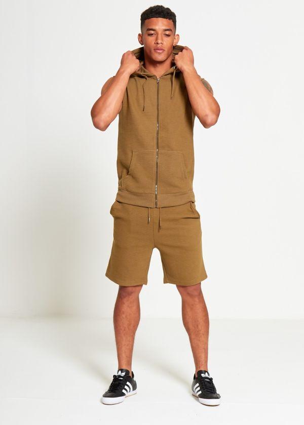 Khaki Ribbed Sleeveless Tracksuit Shorts Set
