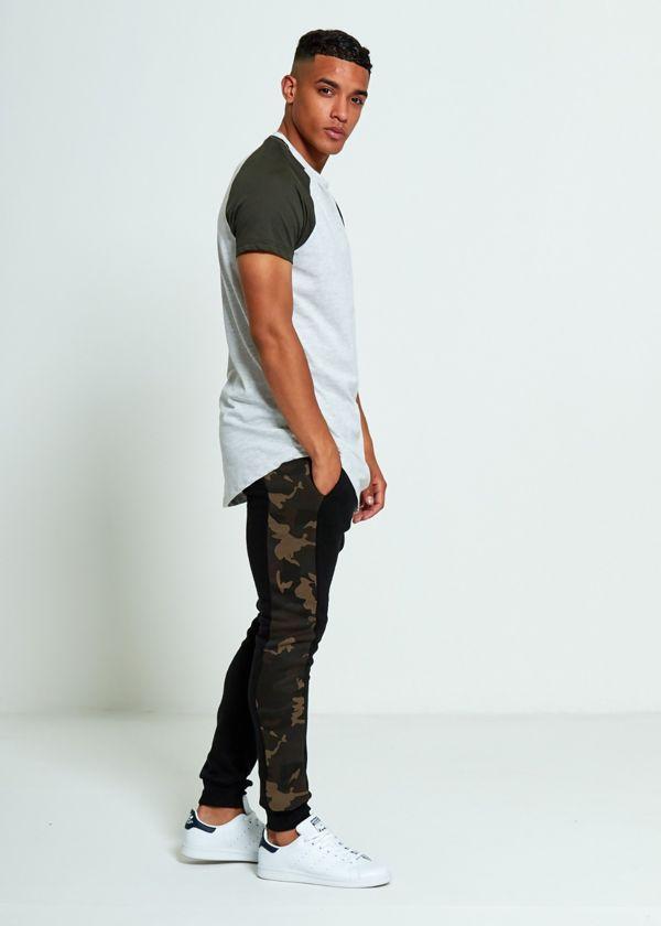 Grey Skinny Fit Camo Stripe Jogging Bottom