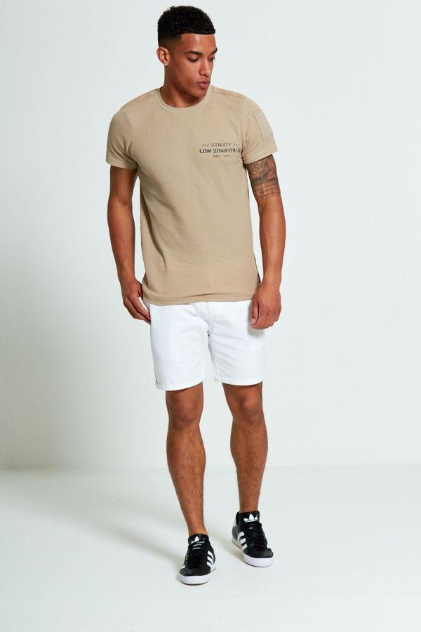 Beige Textured Logo Print T-Shirt
