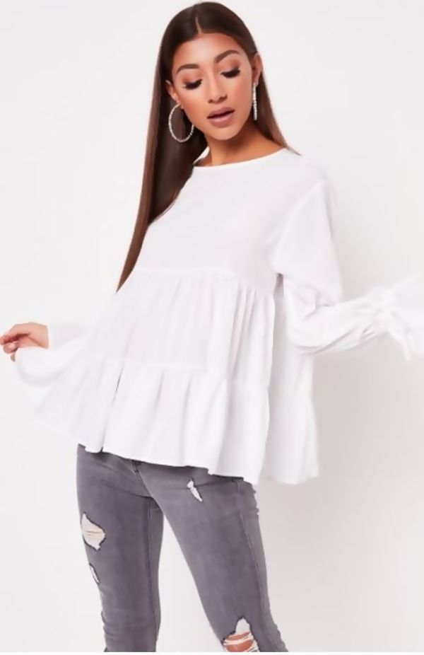 Yellow Long Sleeve Tiered Frill Smock Top