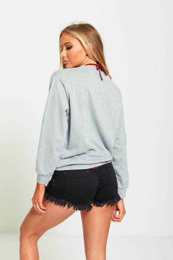 Grey Honey Print Pullover Sweatshirt