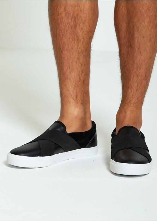 PU Cross Over Slip On Trainers