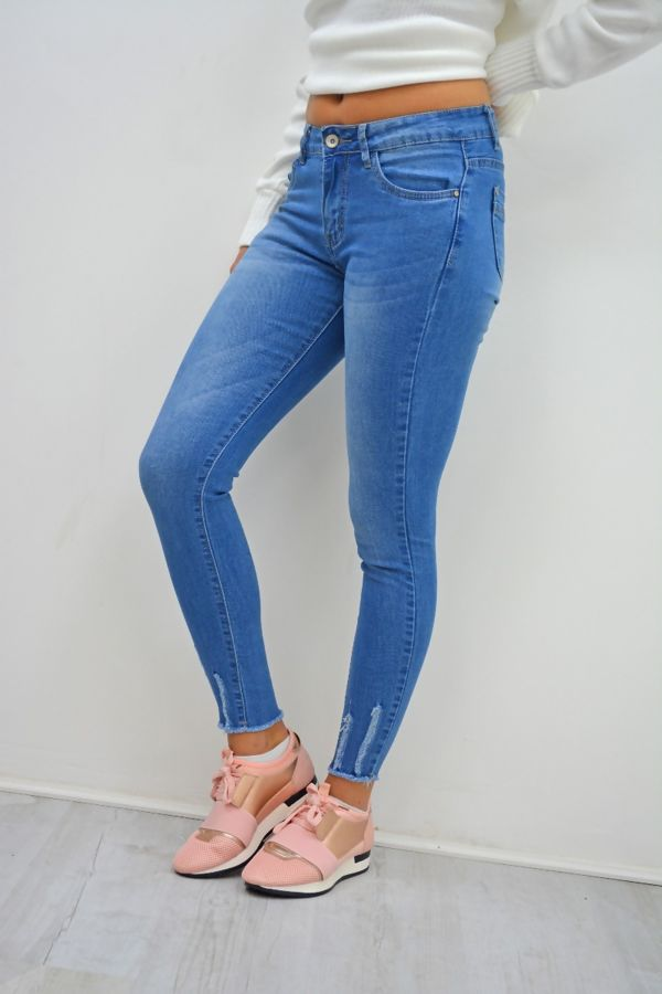 Slight Dark Denim Hem Skinny Fit Jeans