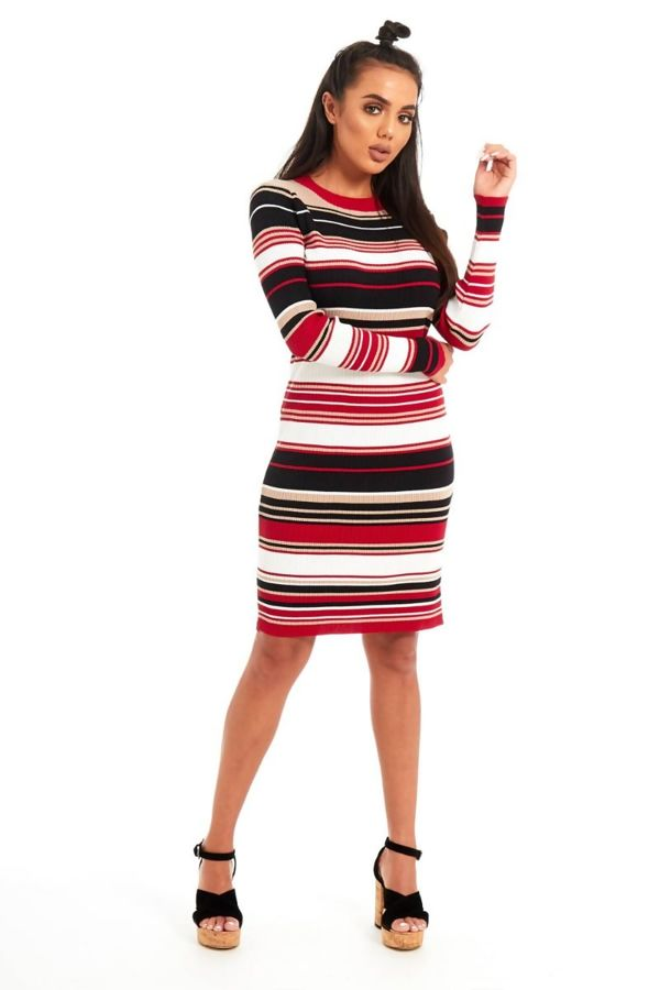 Multi Coloured Ribbed Dress