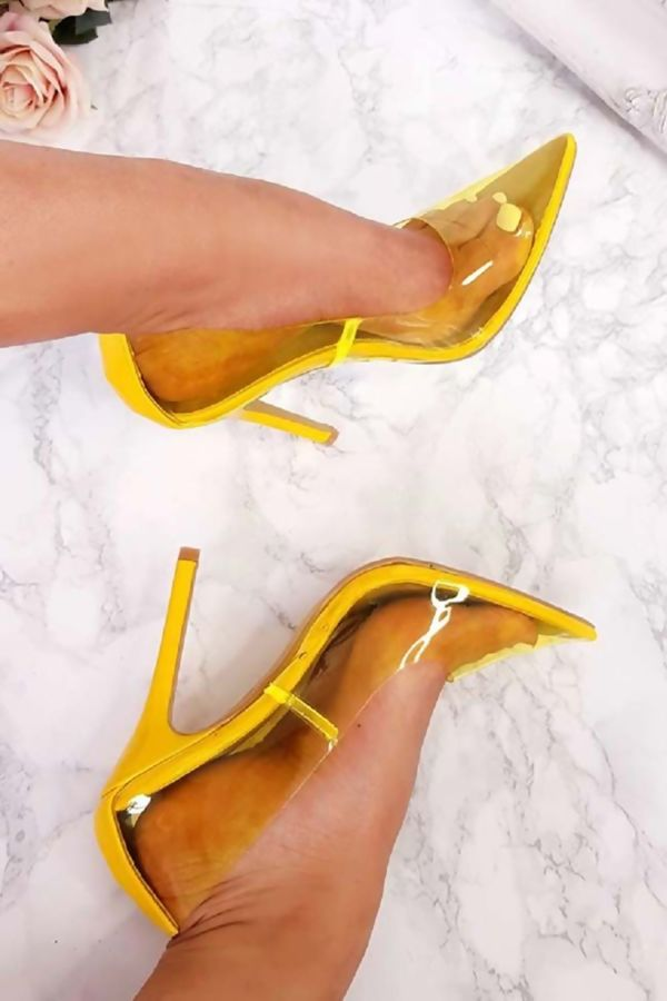 Yellow PersPex Stiletto High Heels