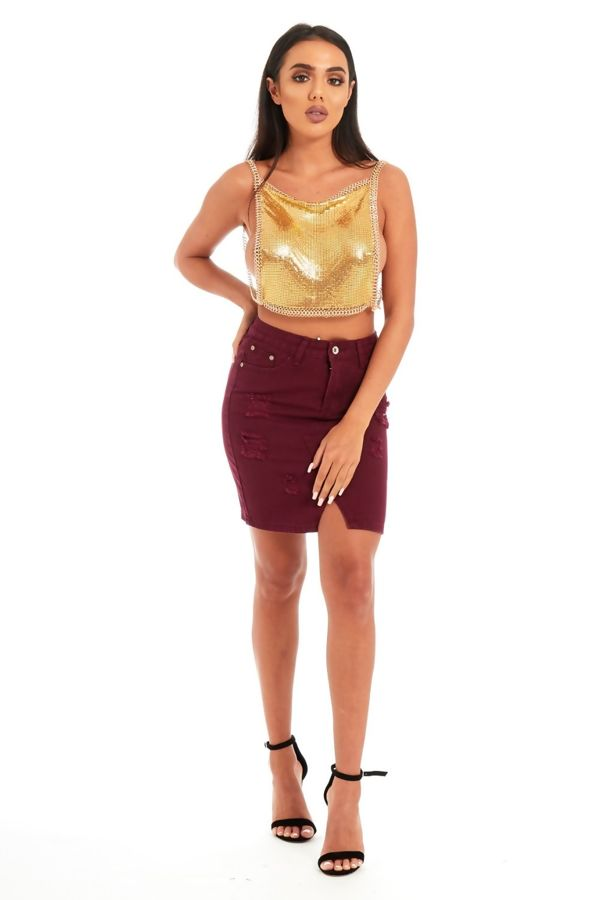 Gold backless chainmail top