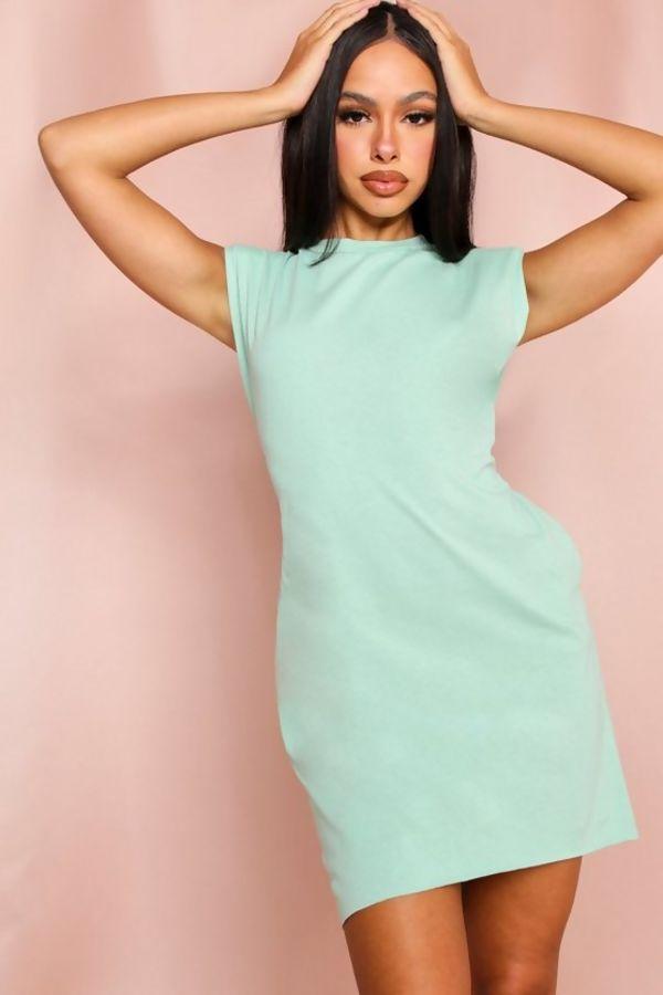 Sage Oversized Shoulder Pad T-Shirt Dress