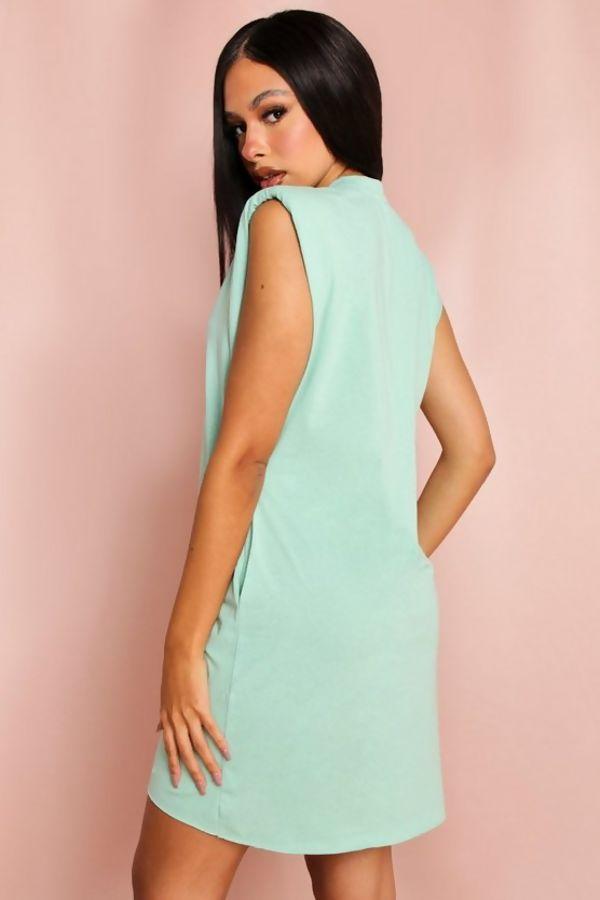 Sage Shoulder Pad T-Shirt Dress