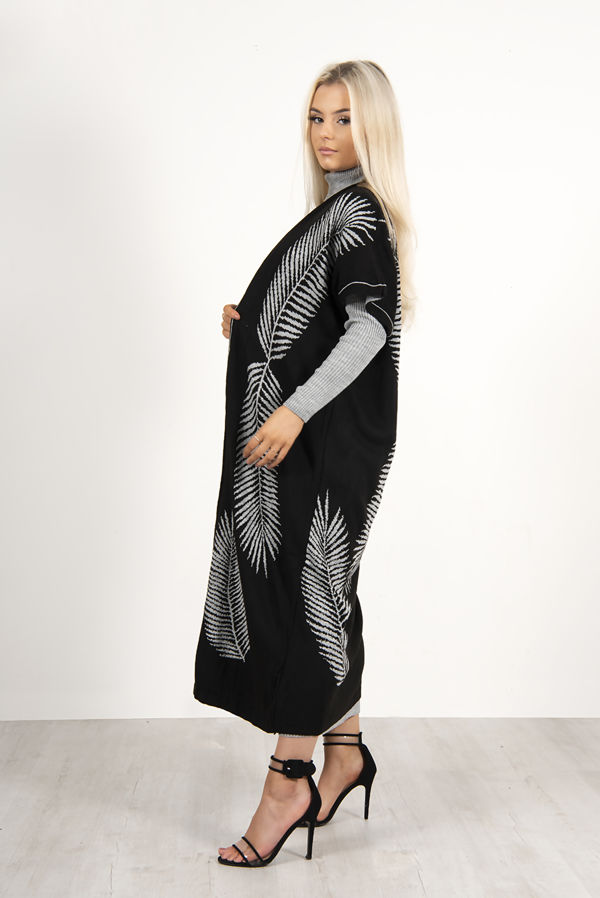 Grey Roll Neck Rib Midi Dress With Contrast Cardigan