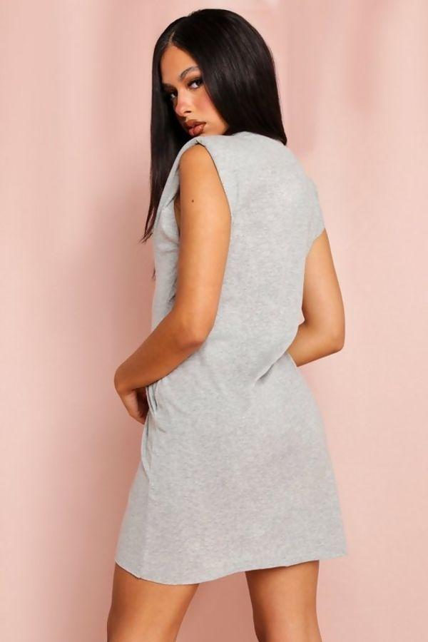 Black Shoulder Pad T-Shirt Dress