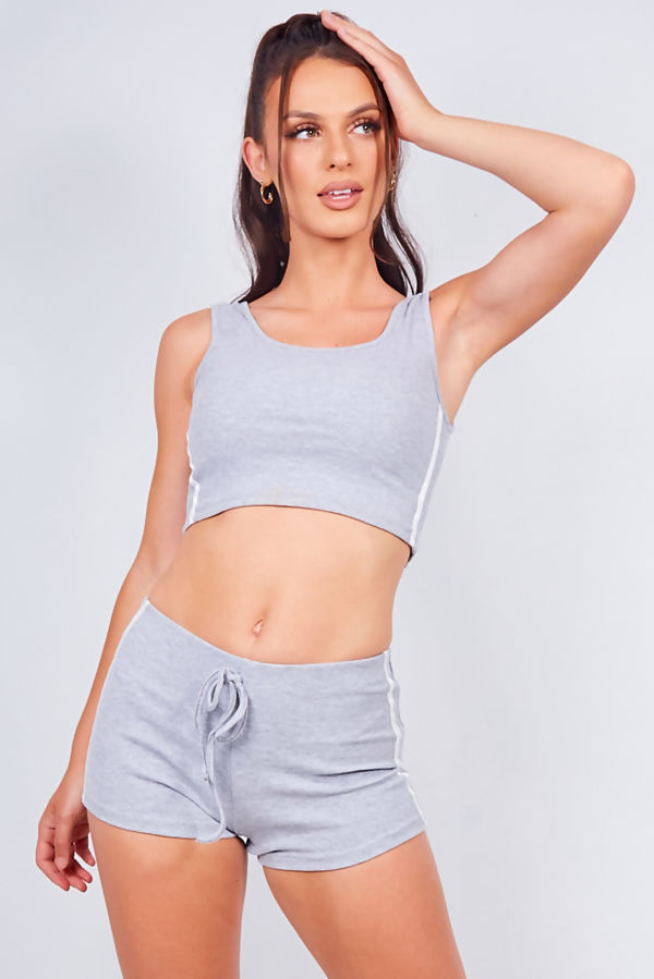 Black Ribbed Side Stripe Crop Top And Shorts Loungewear Set