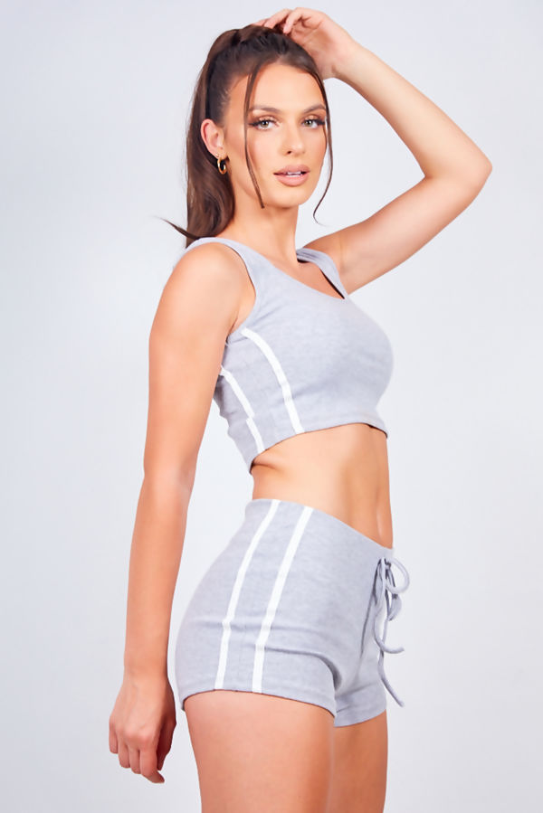 Grey Ribbed Side Stripe Crop Top And Shorts Loungewear Set