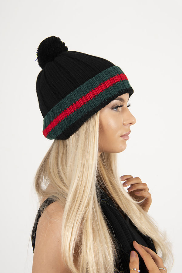 Black Stripe Knitted Scarf And Beanie Hat