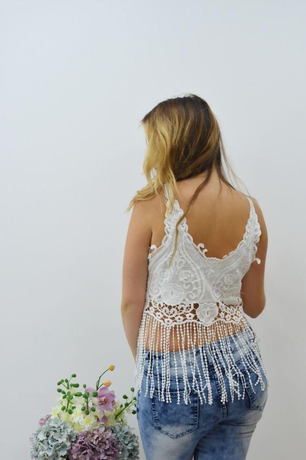 White Lace Tassel Hem Crop Top