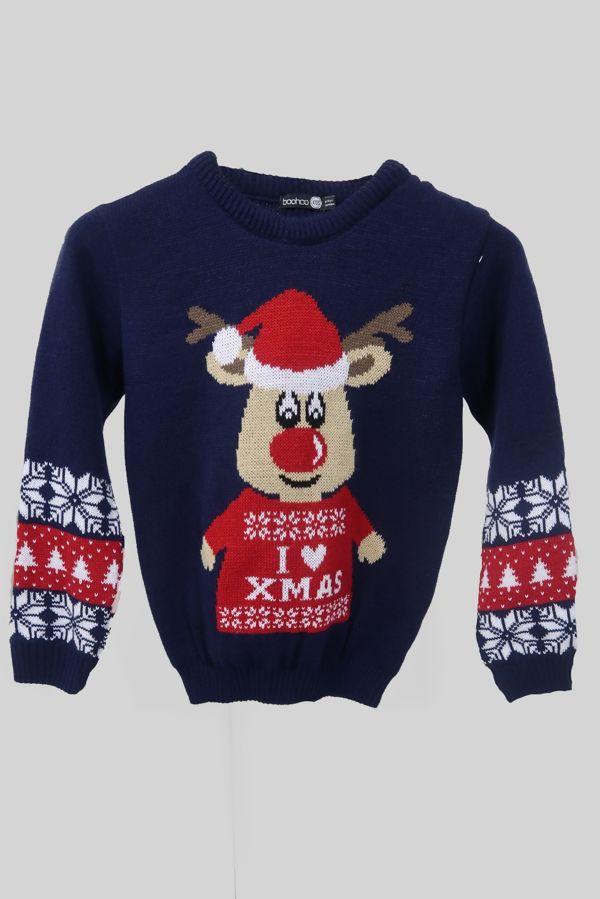 Navy I Love XMAS Reindeer Christmas Jumper