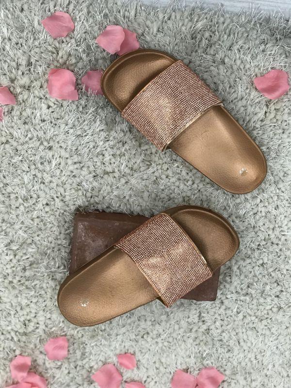 Rust Block Coloured Glitter Sliders