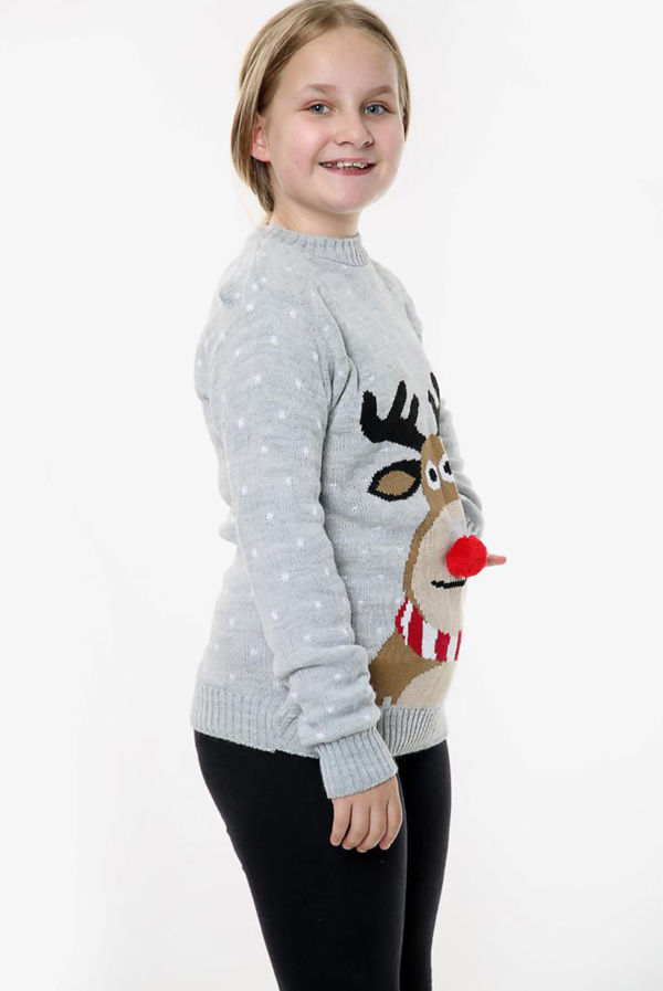 Grey Kids Pom Rudolph Christmas Jumper