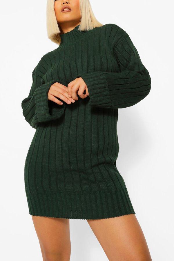 Khaki Oversized Rib Knit Jumper Dress