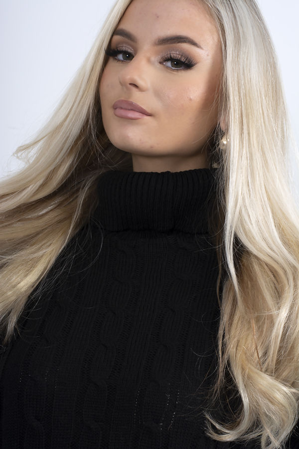 Black Cable Knit Roll Neck Jumper Dress