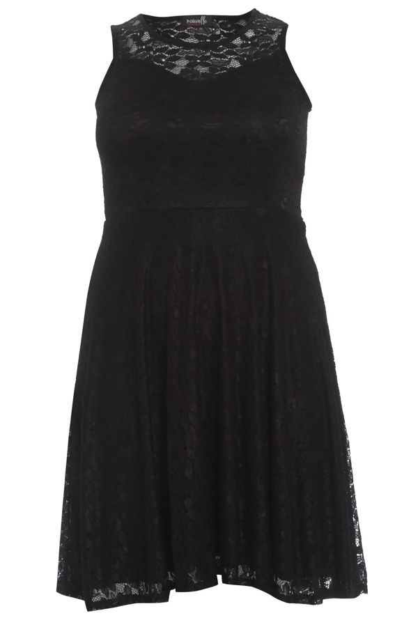 Plus Size Mocha Sleeveless Floral Lace Skater Dress