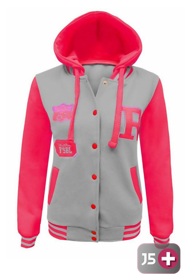Plus Size Neon Grey Hooded Baseball Jacket