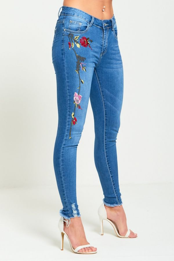 Embroidered Denim Hem Jeans