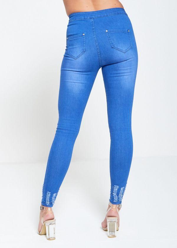 Light Denim High Waist Skinny Hem Jeans