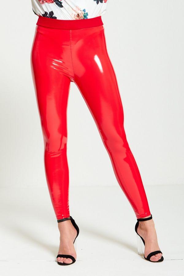 Vinyl Red Skinny Legging