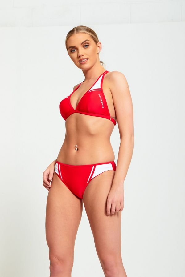 Red And White Contrasting Two Piece Bikini Set