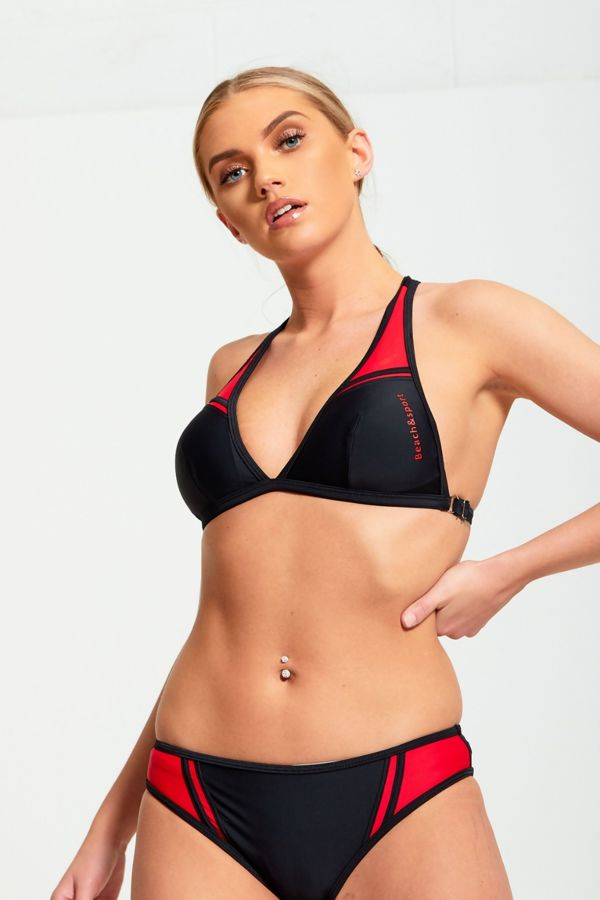 Black And Red Contrasting Two Piece Bikini Set