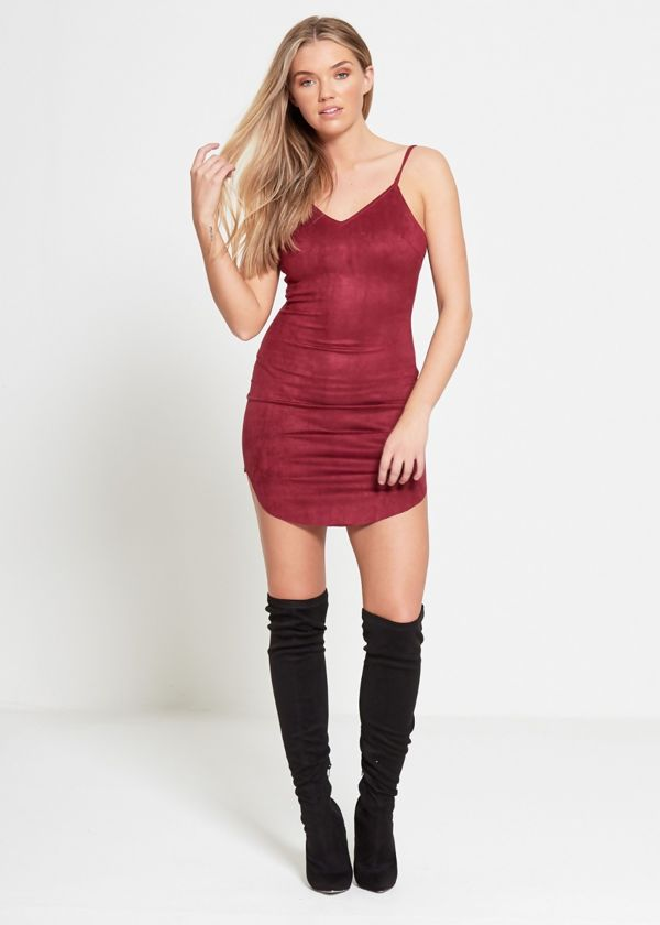Wine Strap Suede Mini Dress