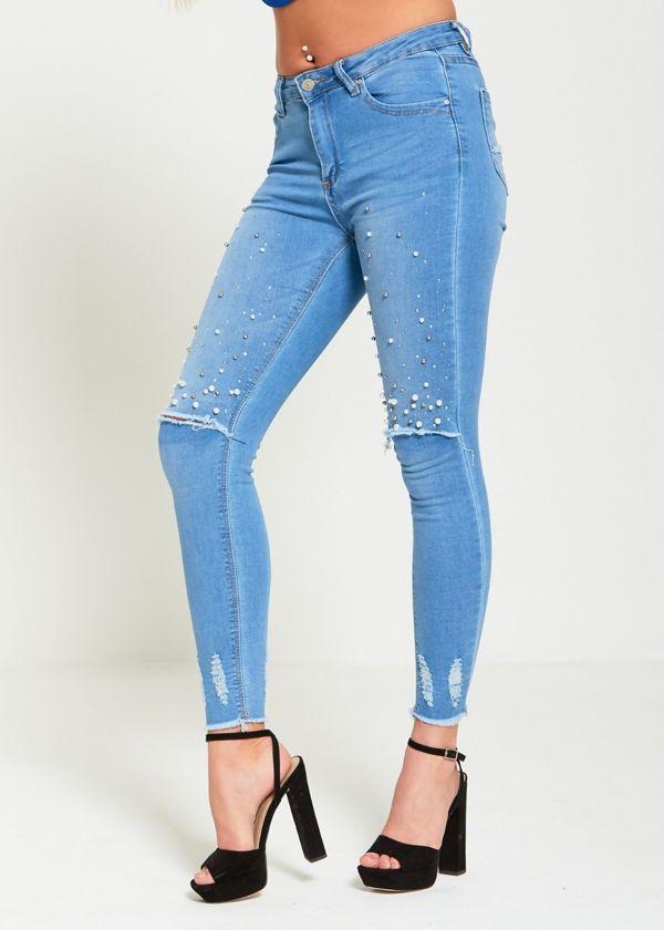 Pearl Embellished Distressed Denim Jeans