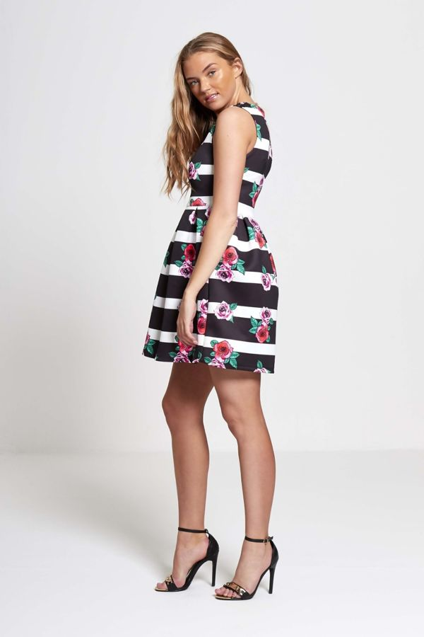 Black Striped Floral Mini Dress