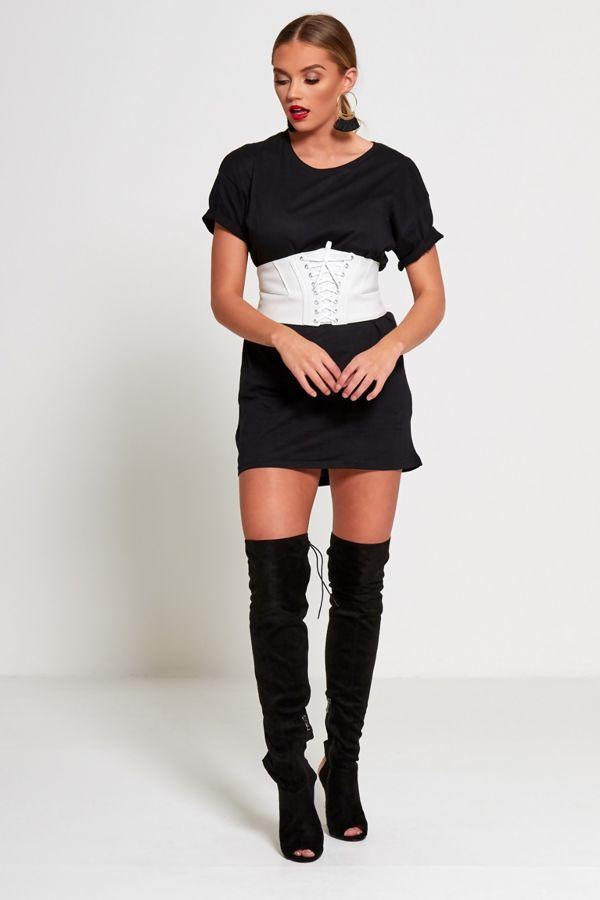White Leather Lace-up Corset Belt