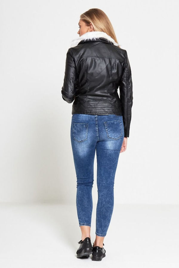 Blue Acid Wash High Waist Skinny Fit Jeans