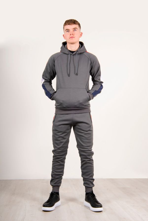 Grey Pullover Skinny Tracksuit With Contrast Side Panels