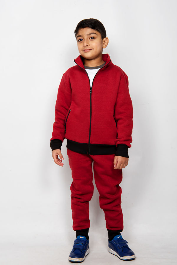 Kids Wine Zip Up Tracksuit With Black Contrast Detail