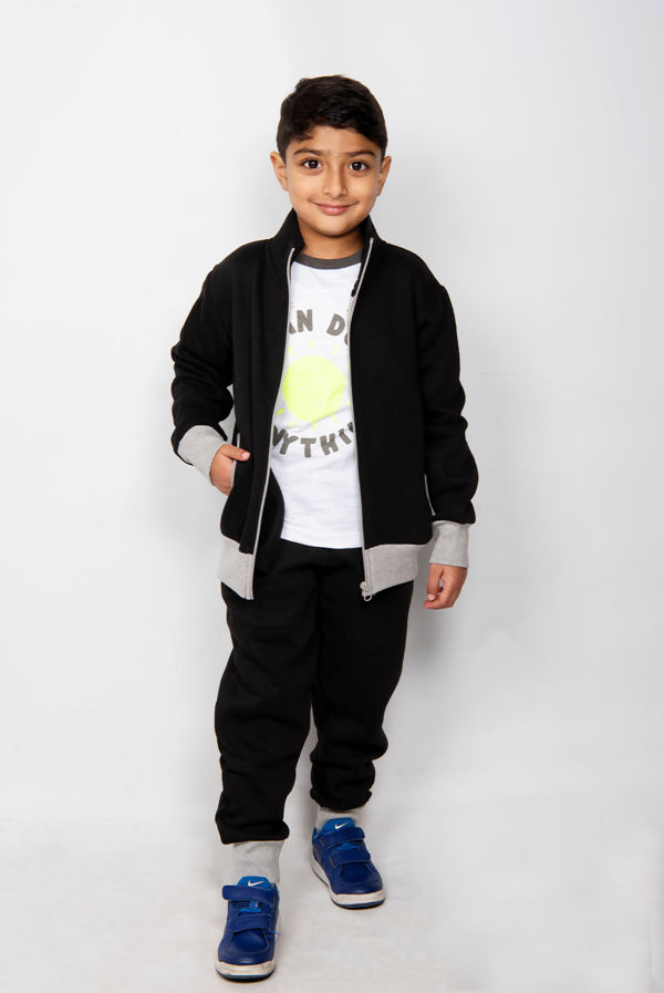 Kids Black Zip Up Tracksuit With Grey Contrast Detail