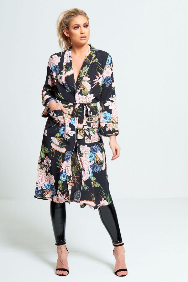 ed93242ef Black Floral Print Long Kimono Cardigan