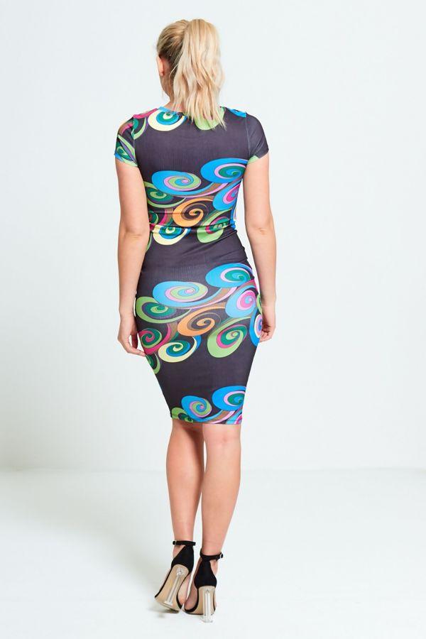 Black Wind-Whirl Ribbed Midi Dress