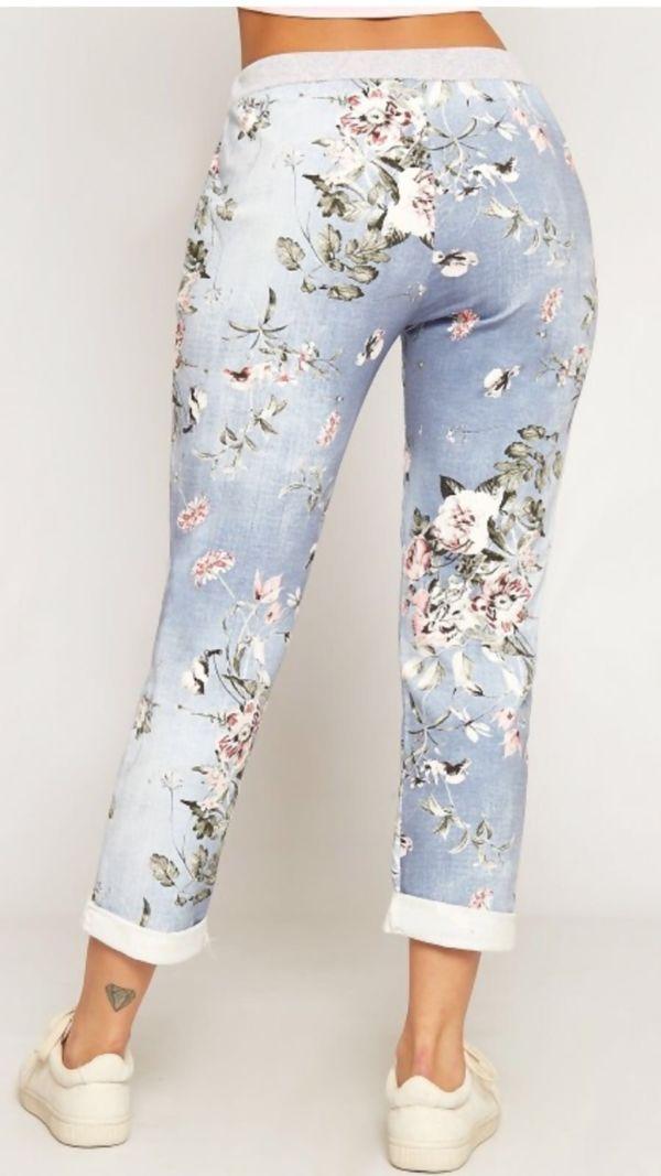 Floral Denim Turn Up Trouser