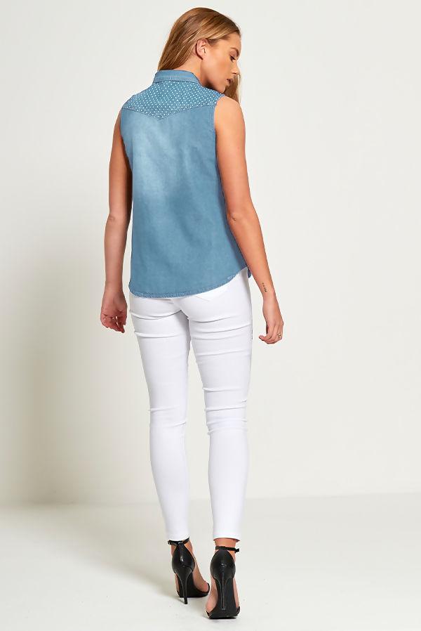 Light Wash Polka Detail Sleeveless Denim Shirt