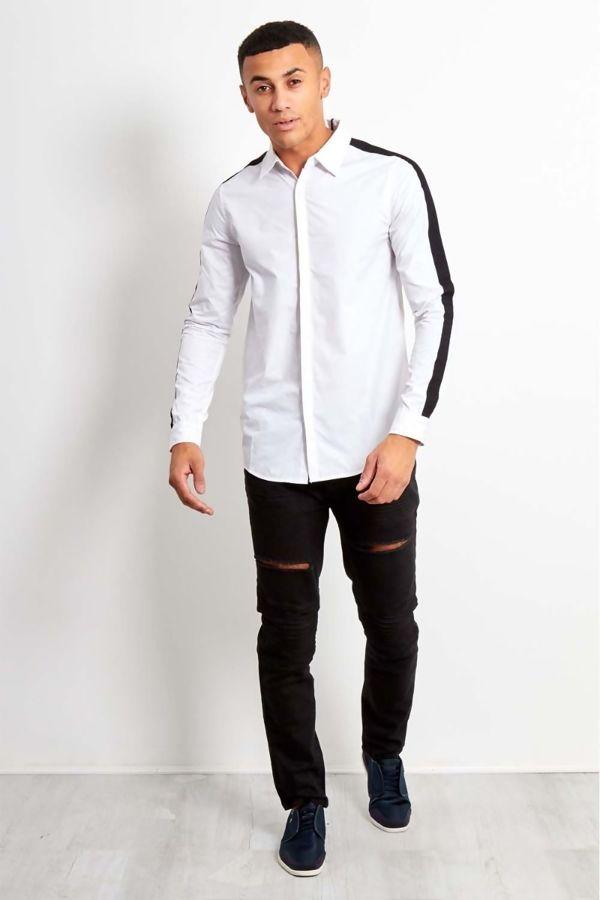 Black Stripe White Shirt